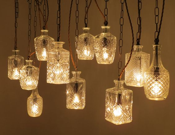 Lighting made from decanters and jugs, great way to upcycle, love the Crystal chic.