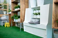 You could easily use old furniture and give them a fresh look for a nice presentation of your plants
