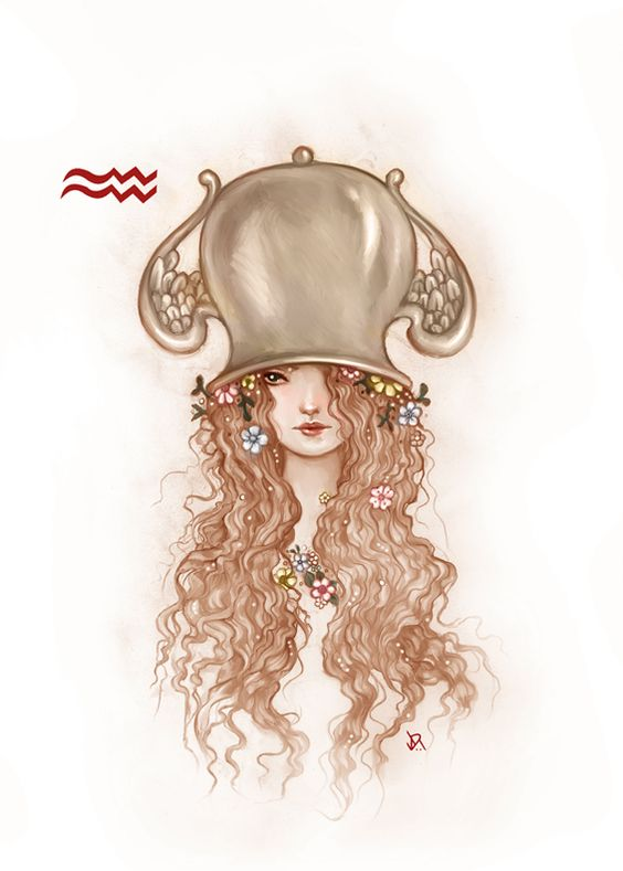 Aquarius. I like this because its pretty, but I also like it because I too like to wear pots on my head from time to time.