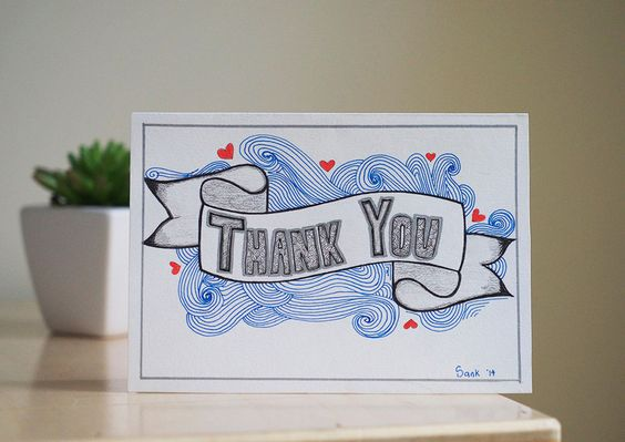 Hand drawn, thank you greeting card. by AmoryPapel on Etsy
