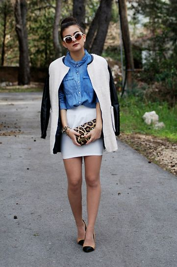What to wear with white jean skirt – Cool novelties of fashion ...