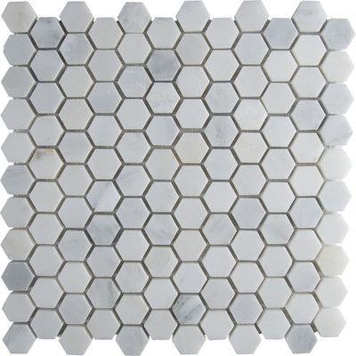 "MS International Arabescato Carrara 12"" x 12"" Hexagon & Dot Tile in Mosaic"
