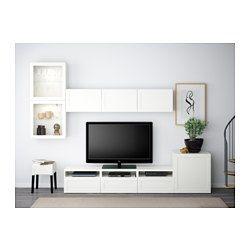 IKEA - BESTÅ, TV-Komb. mit Vitrinentüren, Hanviken/Sindvik Klarglas weiß, Schubladenschiene, Drucksystem, , Durch die integrierten Drucköffner sind Knöpfe oder Griffe überflüssig – leichter Druck genügt.Drei geräumige Schubladen zum ordentlichen Unterbringen von Fernbedienungen, Spielsteuerungen und anderem TV-Zubehör.Dank mehrerer Öffnungen auf der Rückseite der TV-Bank lassen sich Kabel von Fernseh- und anderen Geräten verdeckt, aber griffbereit ordnen.Dank der Kabelöffnung auf der Ob...