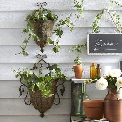 Birch Lane Heritage Djanira Metal Wall Planter Set Wall Planter Metal Wall Planters Wall Planters Indoor