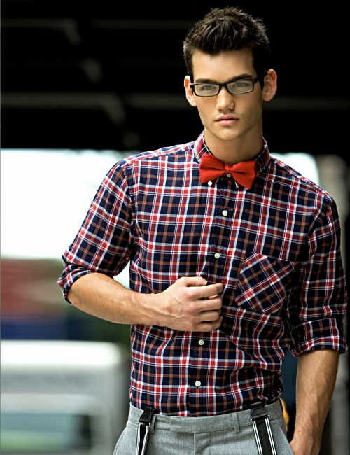 Chris Fawcett—preppy, geeky look.