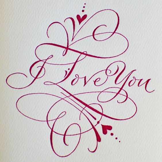 Pg i love you calligraphy typeography inspiration