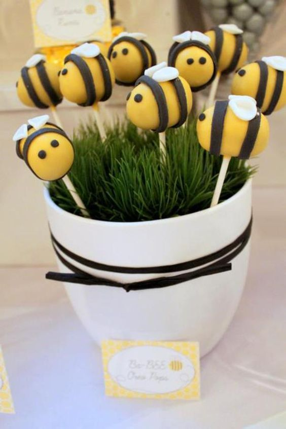 Love these cake pops at a 'What will it BEE' baby shower via Kara's Party Ideas @HUGGIES Baby Shower Planner Baby Shower Planner