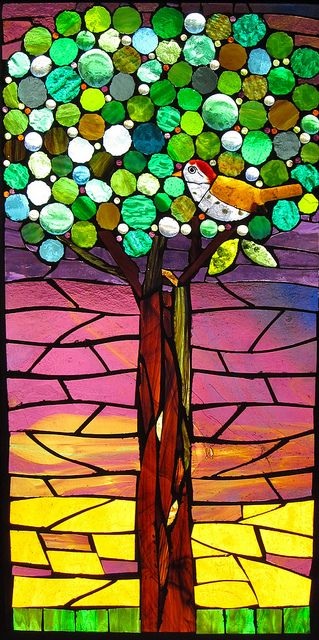 Glass mosaic tree - ©ShardArt - www.flickr.com/photos/ambrusseau/5815609628/in/set-72157626798461371/