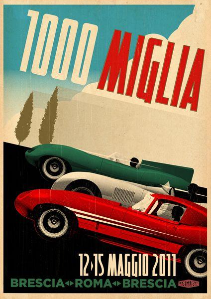 Tavis Coburn - A poster for Jaguar, promoting the 2011 Mille Miglia Race ::: www.dutchuncle.co.uk/tavis-coburn-images