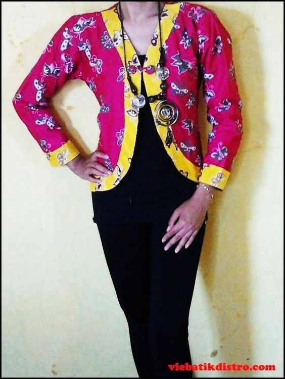 baju batik kerja wanita model blazer pink sadara harga: Rp. 85.000 ...