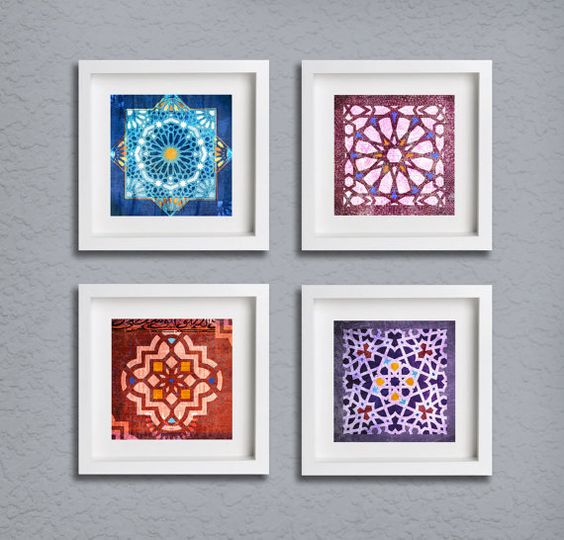Moroccan Patterned Fine Art Print Set, Traditional Moroccan Patterns, Distressed Painted Textures