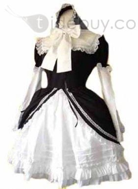Cheap Multi layered Black and White Cosplay Lolita Dress with Bow