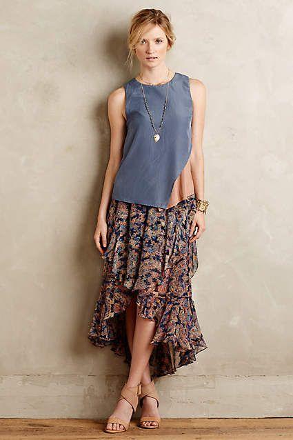 Ruffled Silk Midi Skirt - #anthroregistry