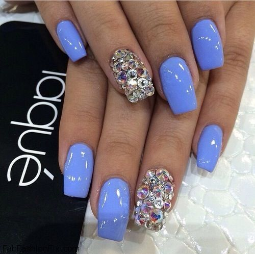 Blue nails with glitter inspiration ✿