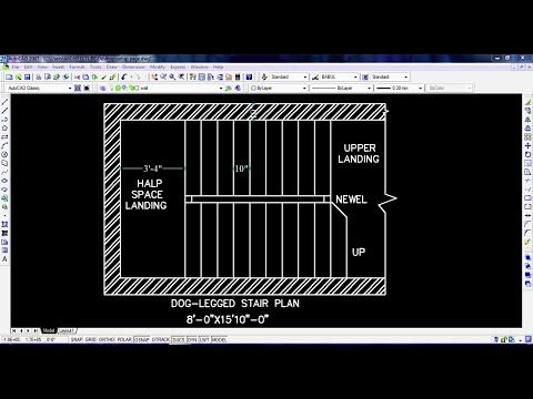 How To Draw The Plan Of A Doglegged Staircase In Autocad 01 Youtube How To Plan Autocad Tutorial Autocad