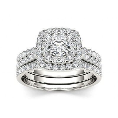 1.00 ct G SI1 Round Cut Diamond Double Halo 14k White Gold Engagement Ring Set