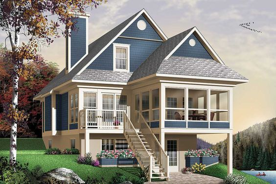Plan 21571dr Four Seasons Sloping Lot Cottage Beach Style House Plans Lake House Plans Craftsman House Plans