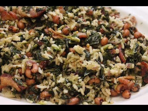 Hoppin John -- Rice, Collards, Black-Eyed Peas, Bacon, and Seasonings! Doesn't Get Much Yummier than That...