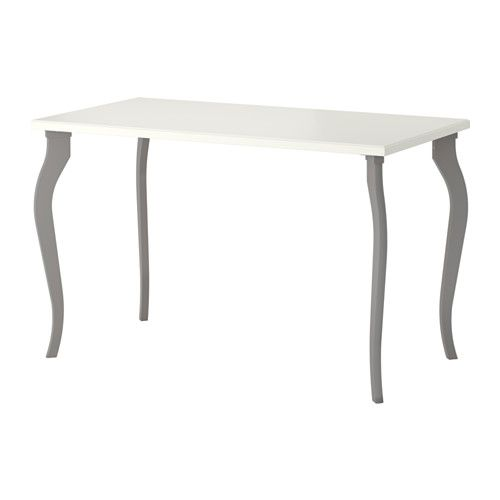 IKEA - KLIMPEN / LALLE, Table, white/gray, 120x60 cm, , Pre-drilled leg holes for easy assembly.