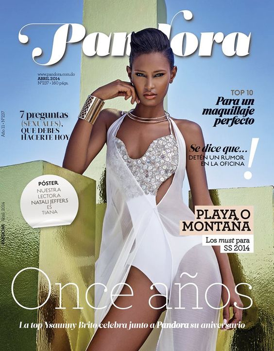 Dominican model Ysaunny Brito covers the April 2014 issue of Pandora Magazine, the cover shot was photographed by Hairo Rojas