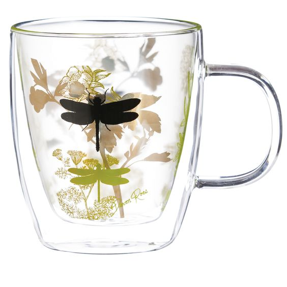 Cheneville Garden Botanical Glass 12 oz. Coffee Cup