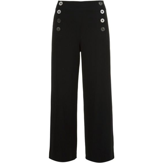 Derek Lam 10 Crosby double-buttoned flared cropped trousers ($735) ❤ liked on Polyvore featuring pants, capris, black, flare pants, flared cropped pants, flare trousers, button pants and flared pants