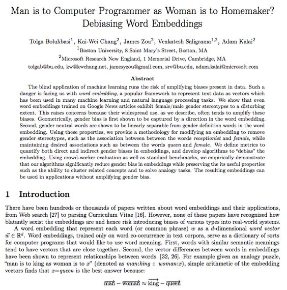 Man Is To Computer Programming As Woman Is To Homemaker Bias In