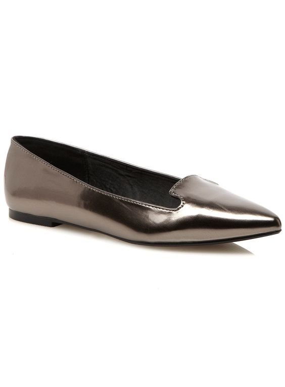 Make a style statement in the metallic pewter point ballerina pumps. The wide fit shoes are on trend and versatile enough to pair with any outfit. Features added padding and a breathable lining in the sole for extra comfort. -- www.evans.co.uk