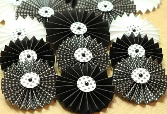 Handmade Paper Rosettes Black & White Theme by PinkdotsCreate, $16.99