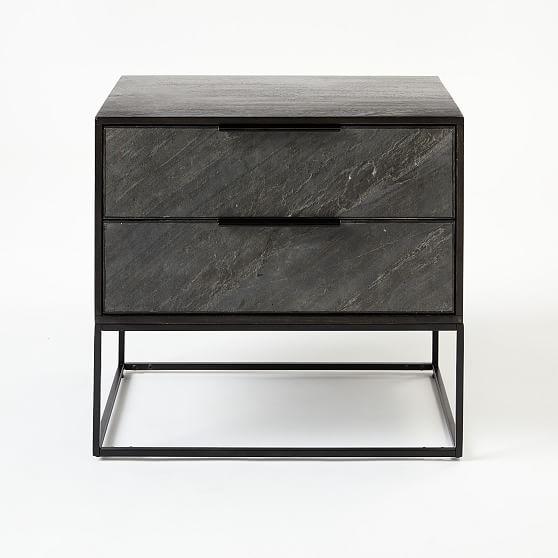Slate Industrial Nightstand Nightstand Furniture Black Metal Bed