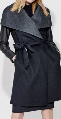 leather sleeve wool blend wrap coat