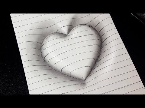 Easy Drawing How To Draw 3d Heart With Lines 3d Trick Art For Kids Youtube 3d Drawings Easy Drawings Illusion Drawings
