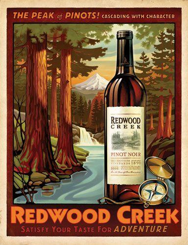 Redwood Creek Vintage Style Wine Posters Wine Posters
