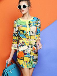 Hot Sale Promotions Printing Multicolor Buttons Round Neck Three-Quarter Sleeve Natural Waist Bow Dress