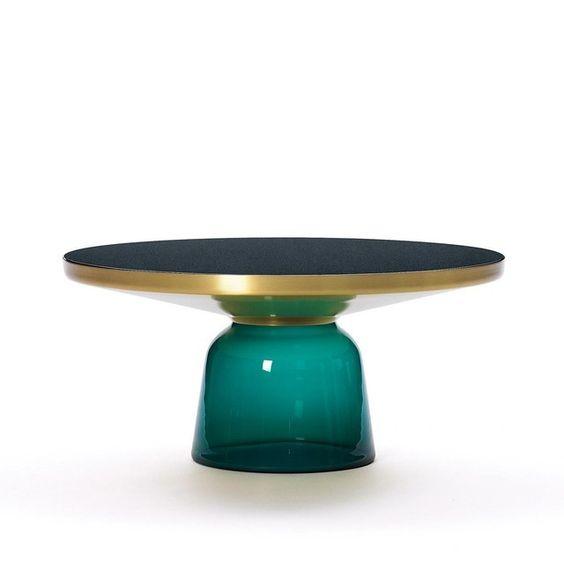 ClassiCon - Bell Coffee Table Brass - emerald green/Ø75cm/h:36cm