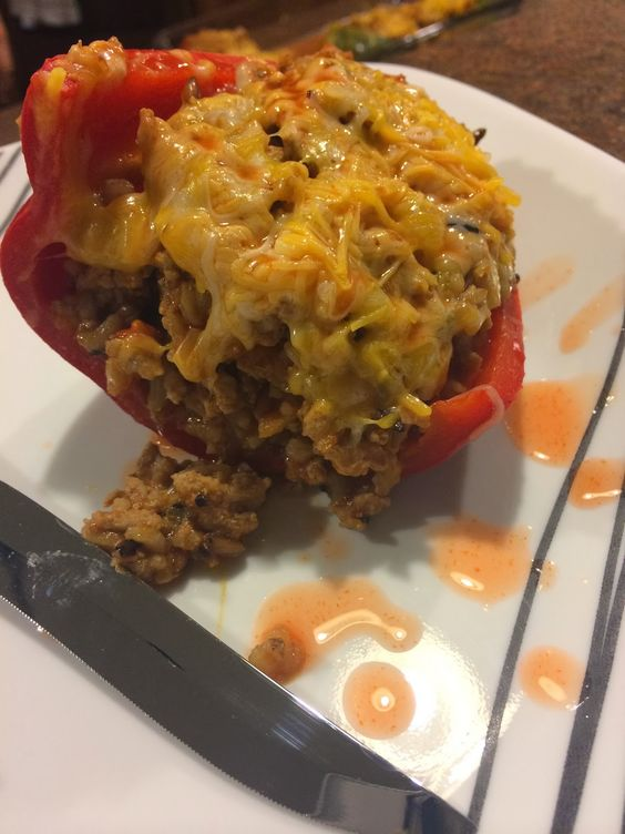 Clean Eating Recipe: Turkey Stuffed Peppers #clean #recipes #delicious #recipe #healthy