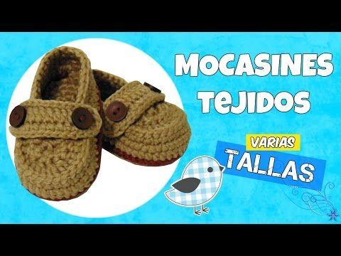 Mocasines tejidos a crochet con botón   varias tallas - YouTube