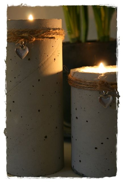 。\|/ 。 concrete candle holders -diy