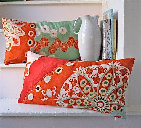 Vintage Silk Kimono Pillow Mosaic like Red and by KimonoArtStudio
