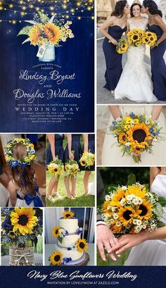 Navy Blue Sunflower Rustic Wedding Invitations Zazzle Com In