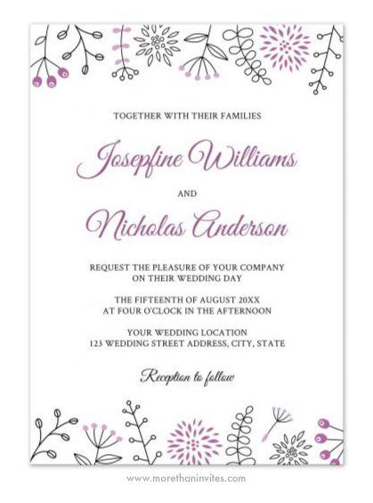Elegant, modern wedding invitation featuring doodle flower ...