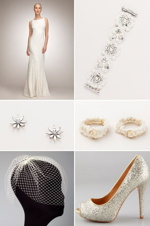 Sophisticated modern wedding dress and elegant wedding accessories with Swarovski crystal flower earrings by Janis Savitt at The Aisle New York