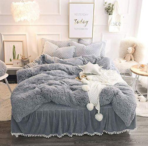 Luxury Plush Shaggy Duvet Cover Set 1 Faux Fur Duvet Cover 1 Pompoms Fringe Pillow Sham Solid Zipper Cl Bedding Sets Grey Bed Linens Luxury Fluffy Bedding