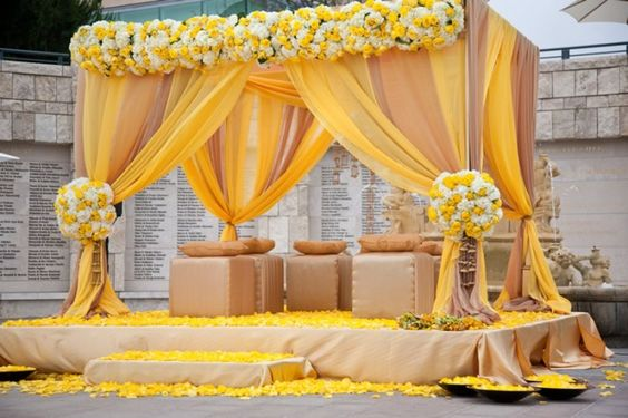 Wedding Party Celebration Gazebo Tent Canopy Yellow Taupe Tulle Flowers
