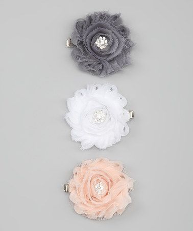 Take a look at this Charlotte Rose Couture Peach & Gray Shabby Chic Flower Clip Set by Charlotte Rose Couture on #zulily today!