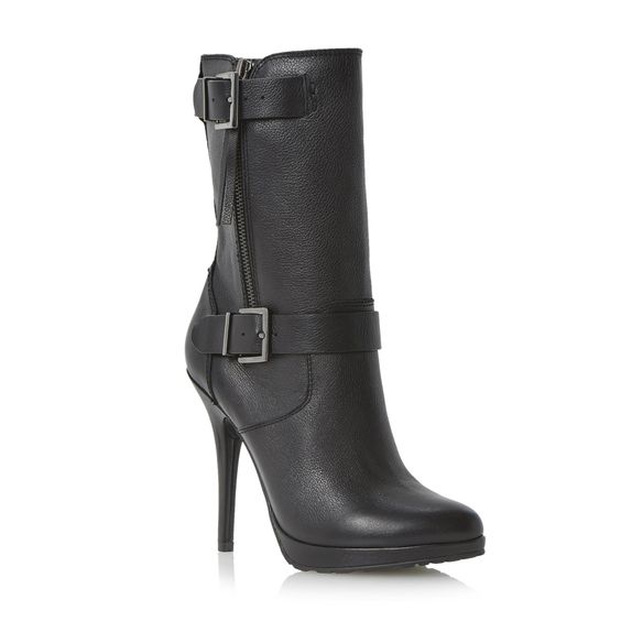 DUNE LADIES RIBBON - Double Buckle Strap Detail Leather Calf Boot - black | Dune Shoes Online