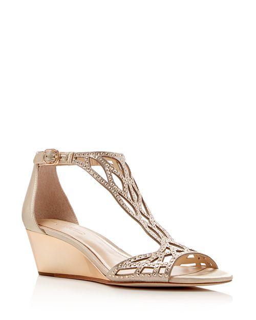 Imagine Vince Camuto Women S Jalen Metallic Rhinestone Cutout Wedge Sandals Jeweled Wedge Sandals Metallic Sandals Heels Silver Sandals Heels