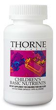 Thorne Children's Basic Nutrients - Only the finest, most bioavailable nutrients are used, and the easy-to-swallow, kid-size capsule makes dosing easy, even in young children. The two-part vegetarian capsule may also be taken apart and mixed into food (like apple sauce or yogurt) or liquid. $19.00