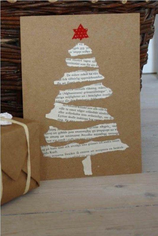 Basteln papier einfache weihnachtskarten tannenbaum for Weihnachtskarten schreiben ideen