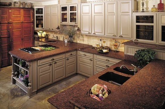 Red granite with white cabinets